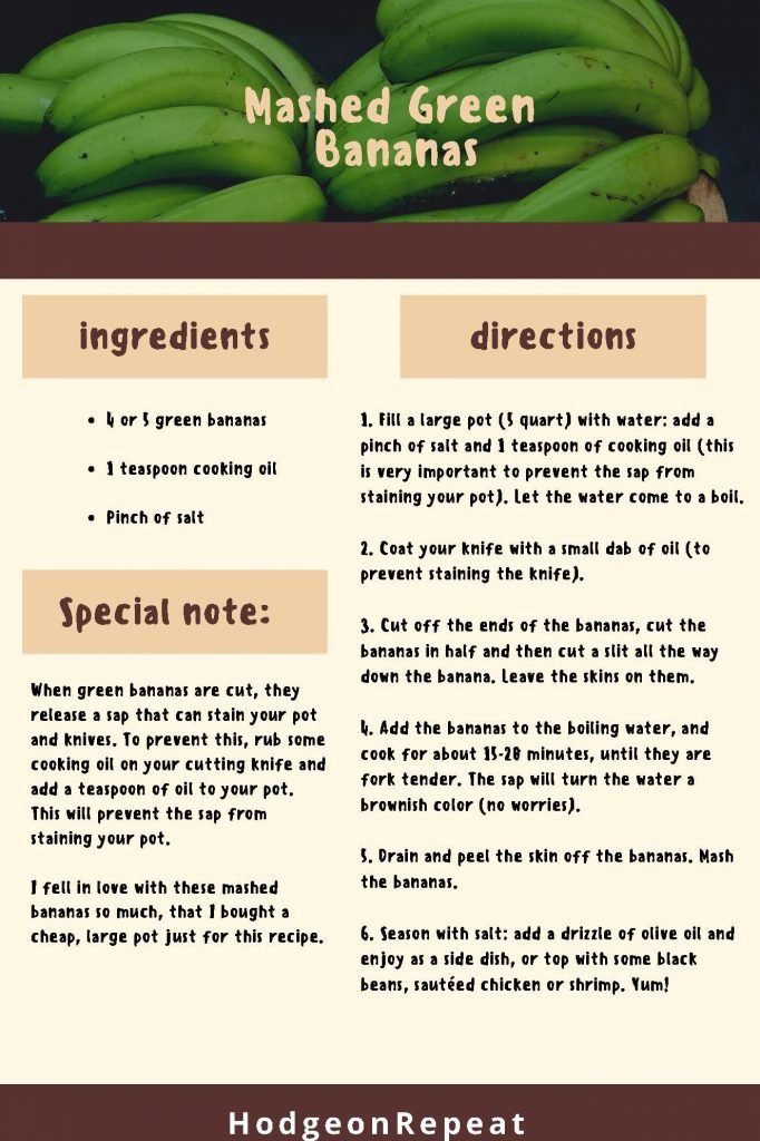 HodgeonRepeat blog - Mashed Green Bananas Recipe - Resistant Starch