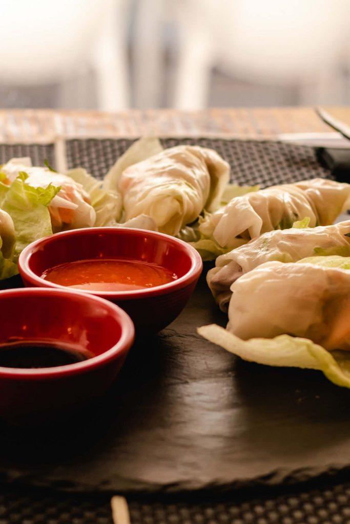 steamed rice noodle spring rolls