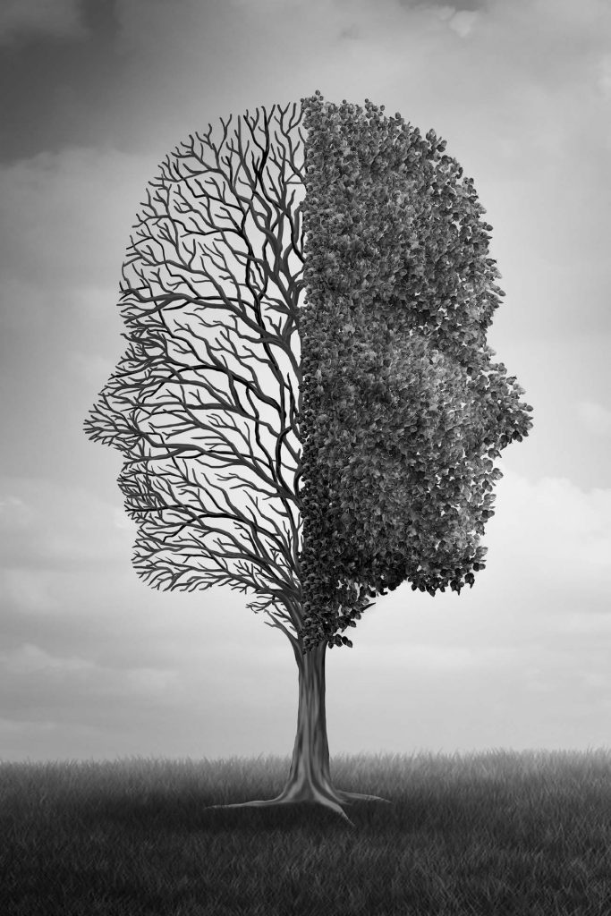 black and white photo of tree shaped like two faces to represent emotions