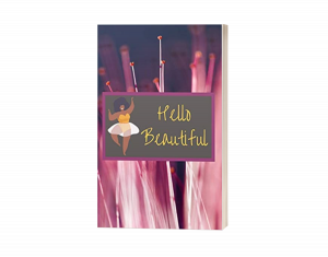 HodgeonRepeat Press - Hello Beautiful 120-page lined journal book cover - body positivity - image of curvy african american woman with purple wildflower background