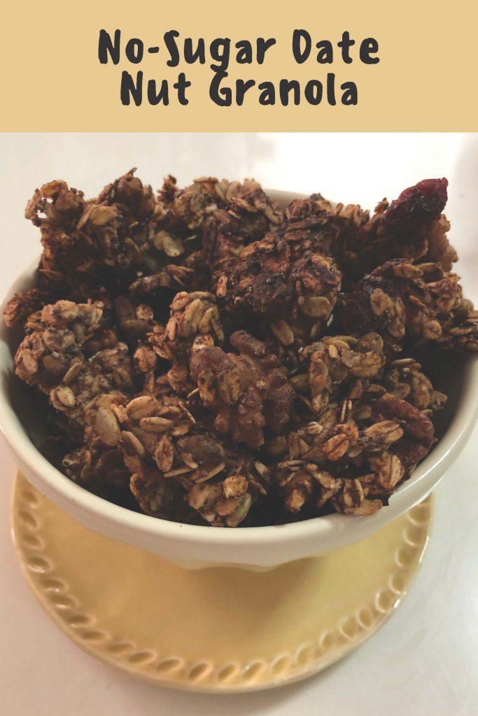 HodgeonRepeat blog - No-Sugar Date Nut Granola in bowl