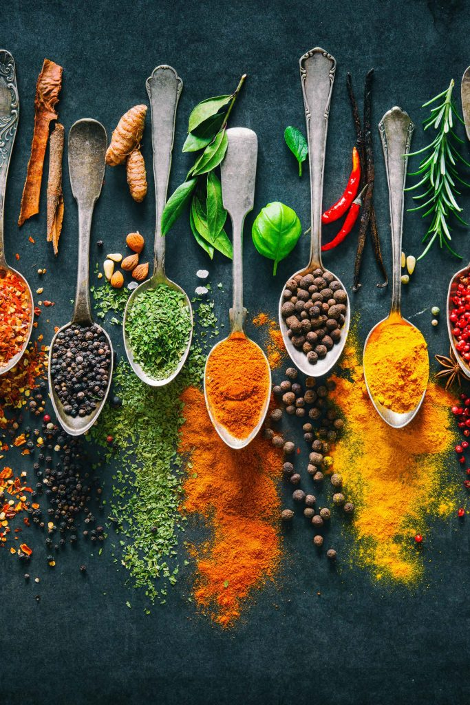HodgeonRepeat blog - colorful spoons of spices to reduce sugar and fat