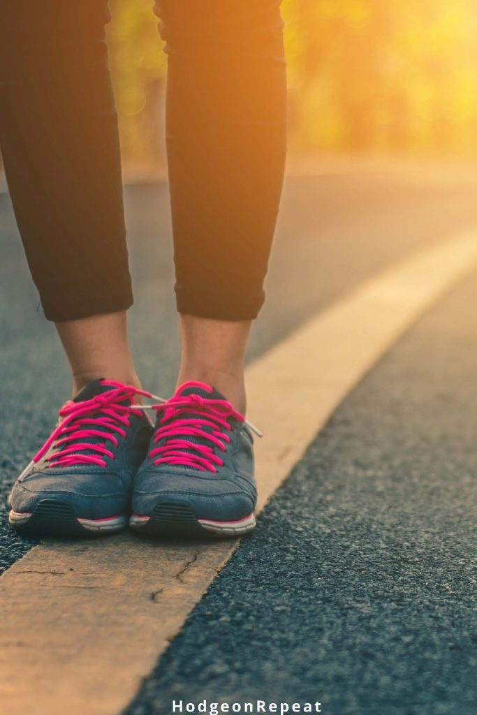 HodgeonRepeat blog - close up of womans sneakers standing on road - fitness journal prompts
