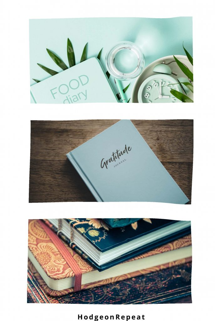 HodgeonRepeat blog - benefits of weight loss journaling - food diary gratitude journal and stack of journals