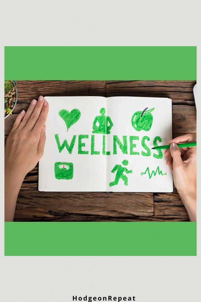 HodgeonRepeat blog - word wellness written in green in journal -wellness through journal writing