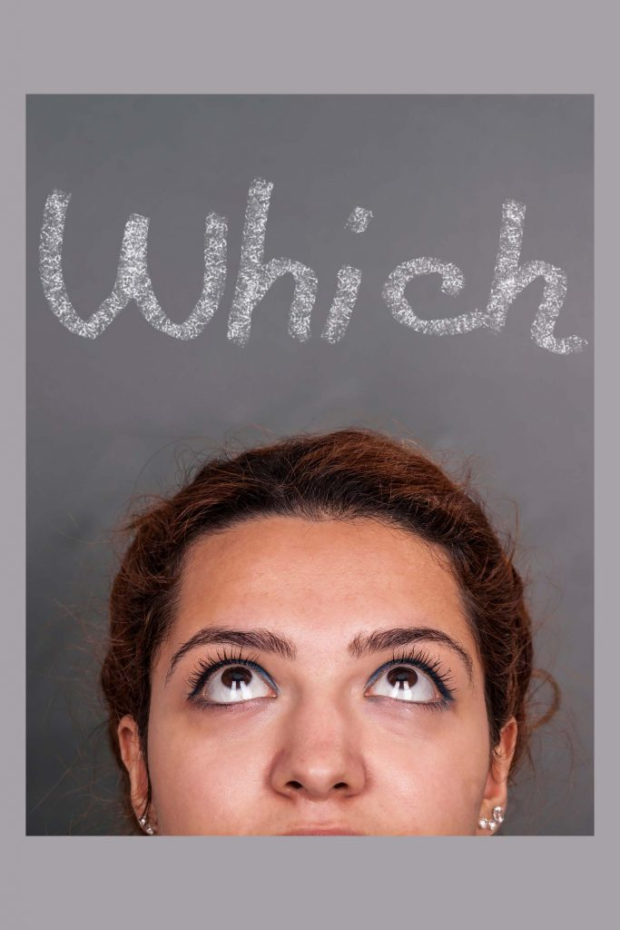 HodgeonRepeat blog - woman looking up with word which above her head - wishy washy about weight loss