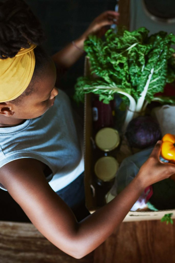 HodgeonRepeat blog - woman with seasonal produce in box - lifestyle change needed to lose weight