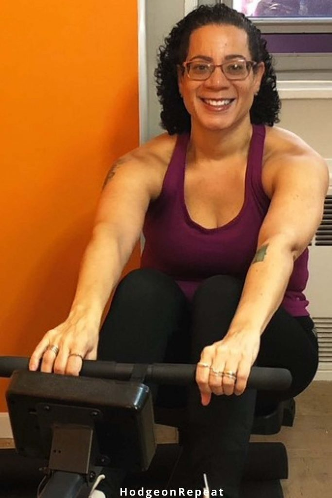 HodgeonRepeat blog - Jill Hodge on indoor rowing machine