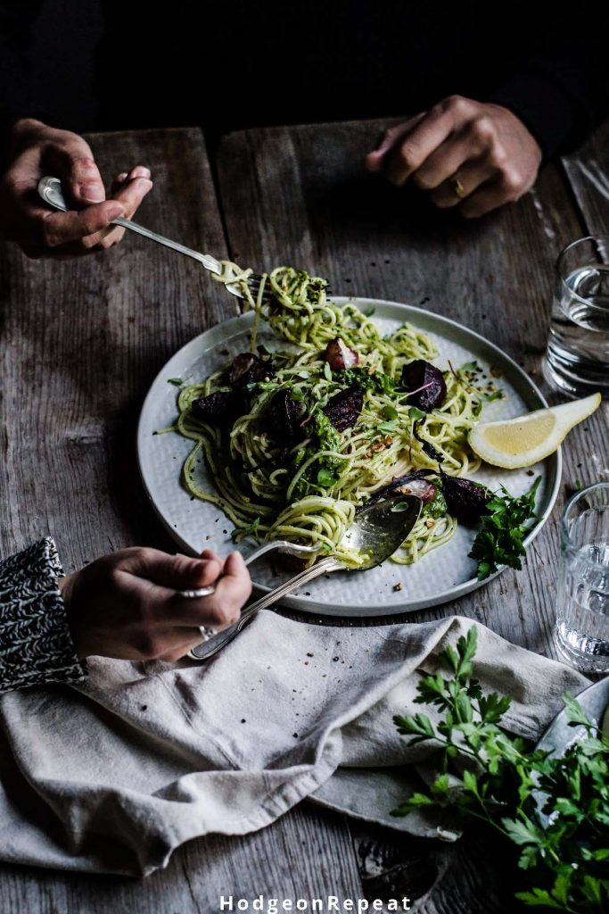 HodgeonRepeat blog - plate of salad and pasta being shared