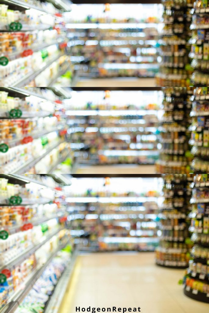 HodgeonRepeat blog - blurred grocery store aisle - rebounding from a dietary slip