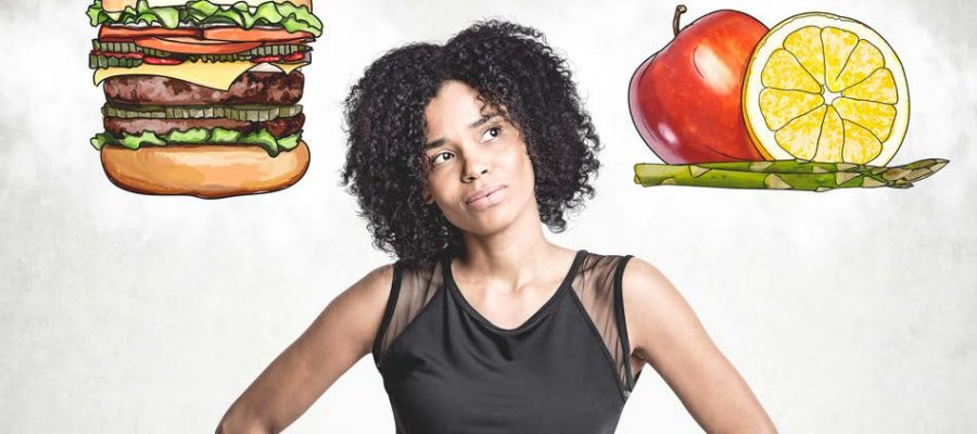 HodgeonRepeat blog - woman considering burger or vegetables - rebounding from a dietary slip