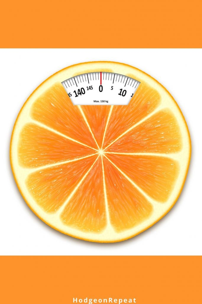 HodgeonRepeat blog - orange slice with face of scale - weight maintenance matters