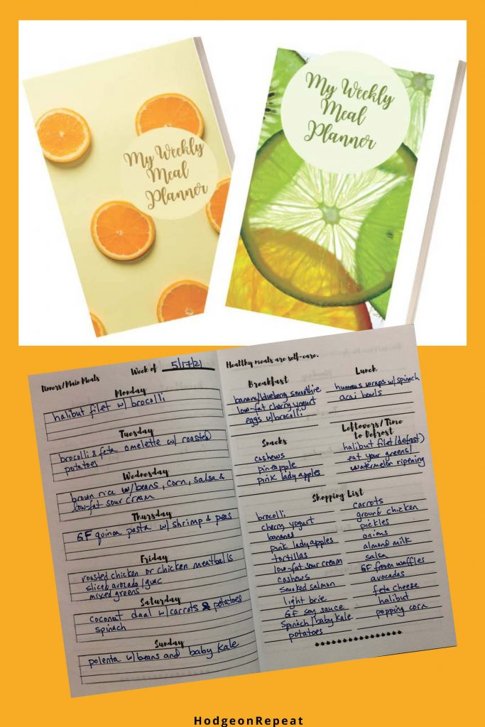 HodgeonRepeat blog - weekly meal planner - sample spread of pages