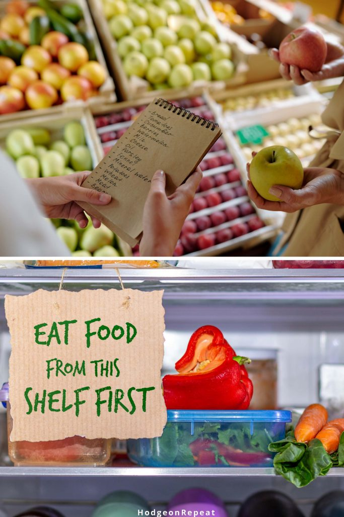 HodgeonRepeat blog - reduce food waste with weekly meal planning -shopping list at grocery store